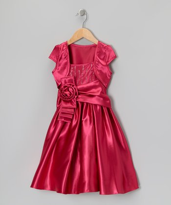 Fuchsia Tiered Sash Dress & Shrug - Girls