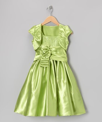Lime Green Tiered Sash Dress & Shrug - Girls