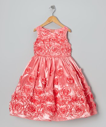 Coral Spiral Rosette Dress - Girls