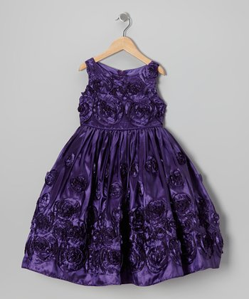 Purple Spiral Rosette Dress - Girls