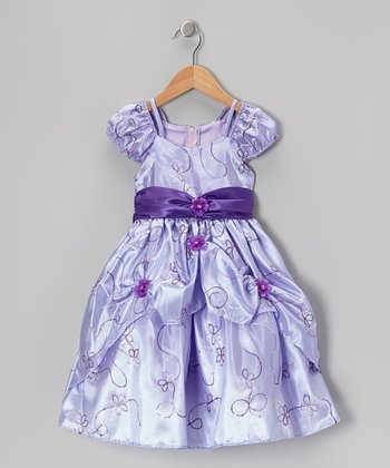 Lilac Embroidered Sash Dress - Toddler & Girls