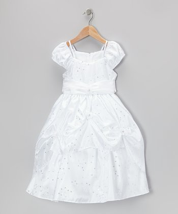 White Embroidered Sash Dress - Toddler & Girls