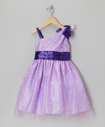 Lilac Sequin Asymmetrical Dress - Girls