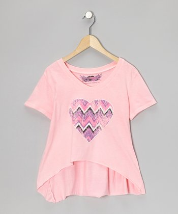 Pink Heart Sidetail Tee - Girls