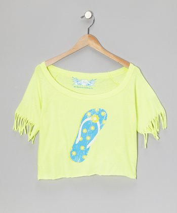 Yellow Flip-Flop Fringe Top
