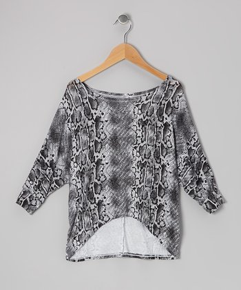 White Snake Dolman Top