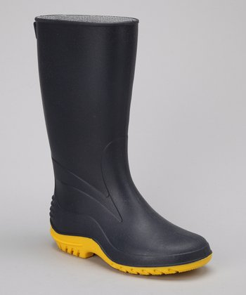 Navy & Yellow Larissa Rain Boot