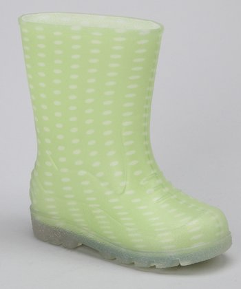 Lime Dots Puddles Rain Boot