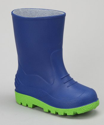 Royal Blue & Lime Puddles Rain Boot
