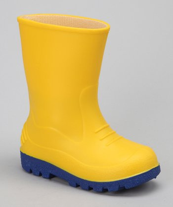 Yellow & Royal Blue Puddles Rain Boot