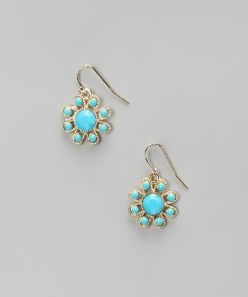 Turquoise & Gold Flower Earrings