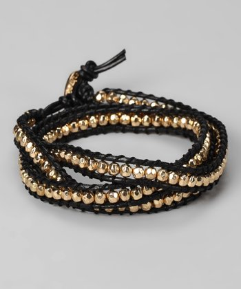 Gold & Black Beaded Leather Wrap Bracelet