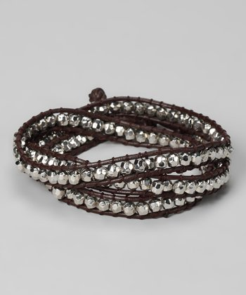 Silver & Brown Beaded Leather Wrap Bracelet