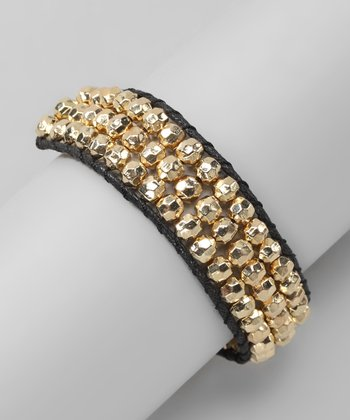 Gold & Black Beaded Leather Bracelet