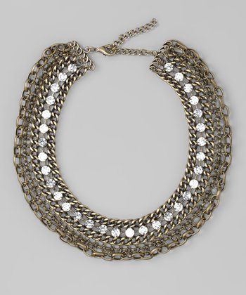 Antique Gold Chain & Crystal Necklace