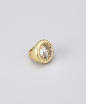 Gold Faceted Gem Stretch Ring