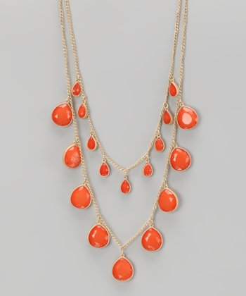 Coral & Gold Faceted Beaded Necklace
