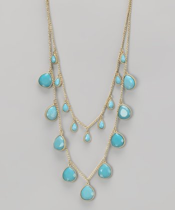 Turquoise & Gold Faceted Beaded Necklace
