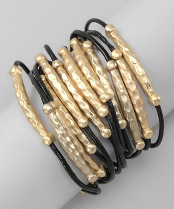 Gold & Black Tube Bead Leather Bracelet