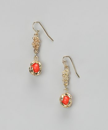Coral & Gold Claw-Foot Earrings