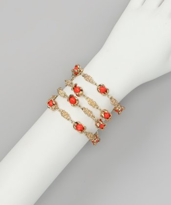 Coral & Gold Claw-Foot Wrap Bracelet