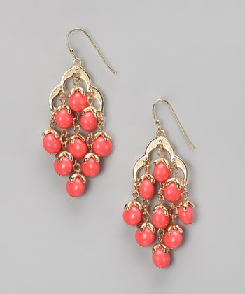 Coral & Gold Chandelier Earrings