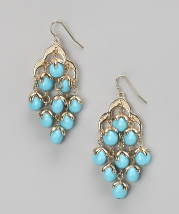 Turquoise & Gold Chandelier Earrings