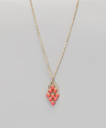 Coral & Gold Chandelier Pendant Necklace