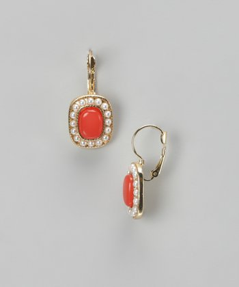 Coral & Gold Earrings