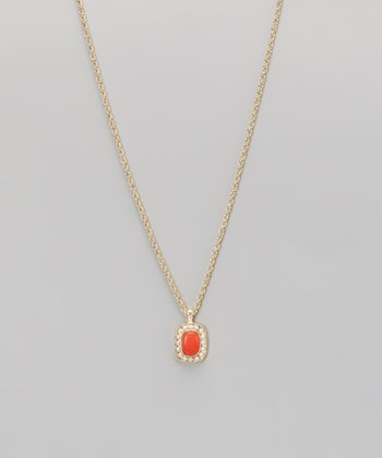 Coral & Gold Pendant Necklace