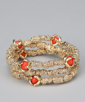 Coral & Gold Stretch Bracelet Set