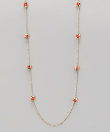 Coral & Gold Claw-Foot Necklace