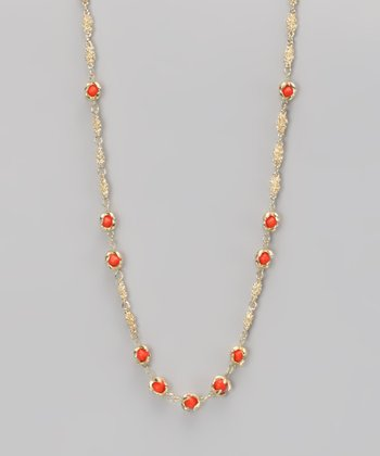 Coral & Gold Claw Necklace
