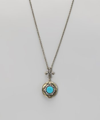 Turquoise & Brass Locket Pendant Necklace