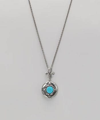 Turquoise & Silver Locket Pendant Necklace
