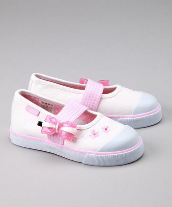 White Bow Elastic Slip-On Shoe