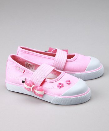 Pink Bow Elastic Slip-On Shoe