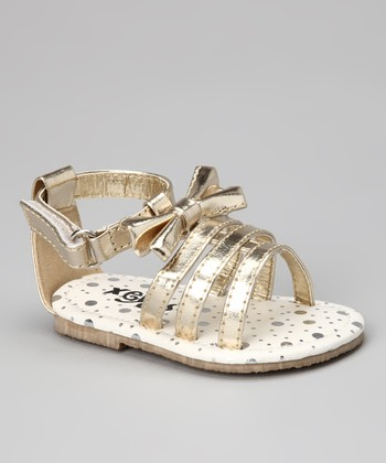 Gold Strappy Bow Sandal