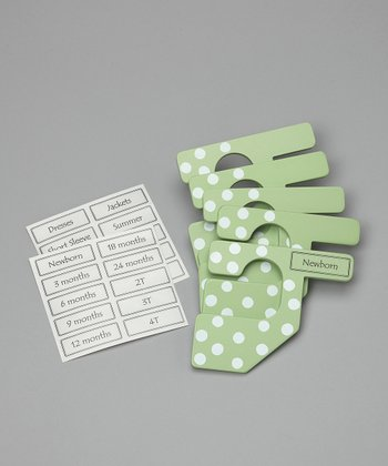 Light Green Polka Dot Closet Divider Set - Kids