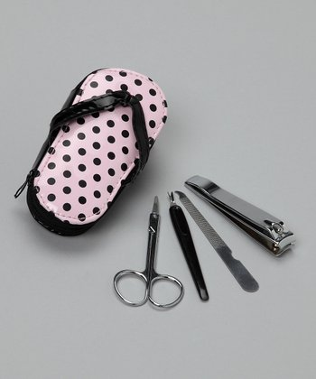 Pink Polka Dot Pedicure Kit - Set of 12