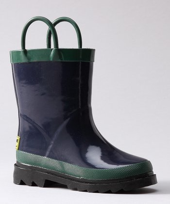 Navy & Green Rain Boot