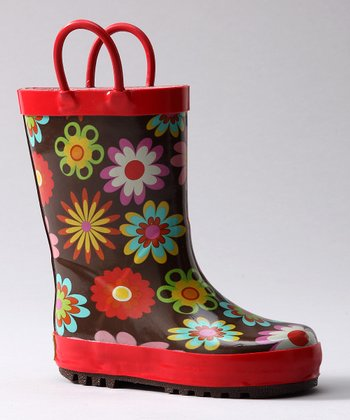 Red Flower Garden Rain Boot