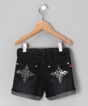 Midnight Wash Distressed Rhinestone Star Shorts - Girls