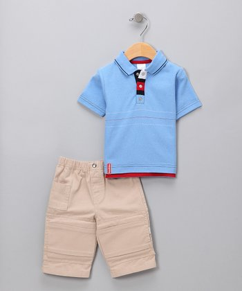 Blue Pique Polo & Pants
