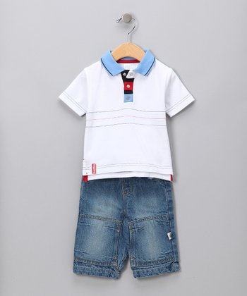 White Pique Polo & Pants