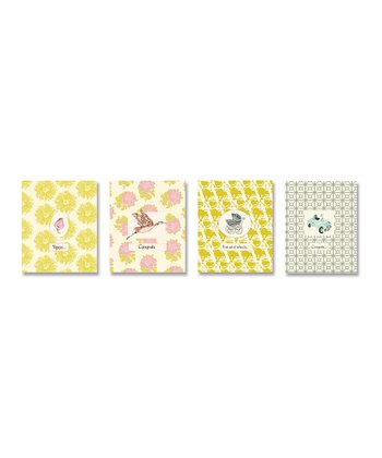Yellow & Pink 'Congrats' Greeting Card Set