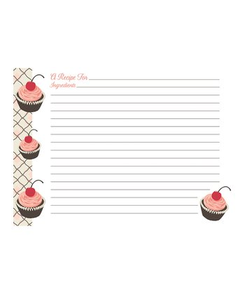 Cherry Cupcake Large Recipe Card - Set of 240