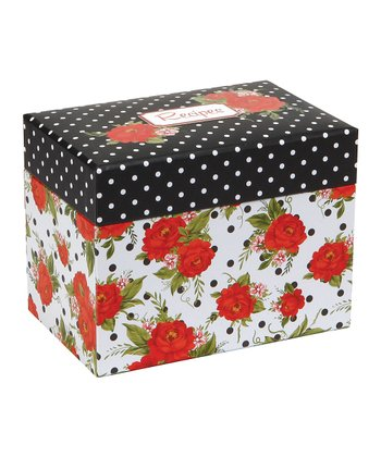 Dotted Cottage Rose Recipe File Box
