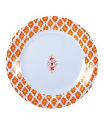 Orange Ikat Melamine Dinner Plate