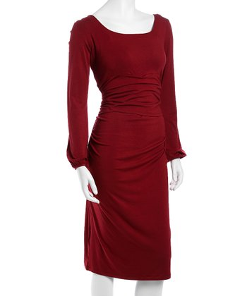 Maroon Valencia Maternity & Nursing Dress - Women